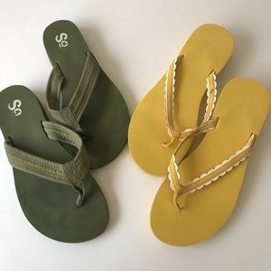 Lot of 2 LOFT and SO Flip Flops size 9